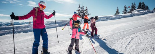 children skiing for the first time