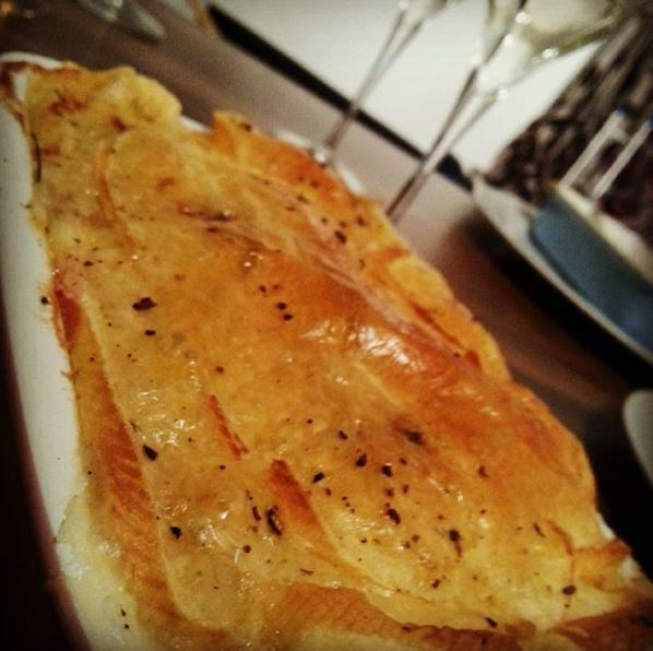 Home-made tartiflette - excuse the jaunty angle (was in an arty mood, not sure I quite pulled it off)