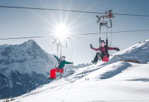 Grindelwald zip line skiing in January