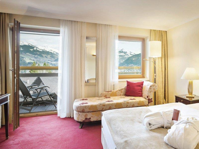 Double room with balcony at the Hotel Schloss Lebenberg, Kitzbuhel