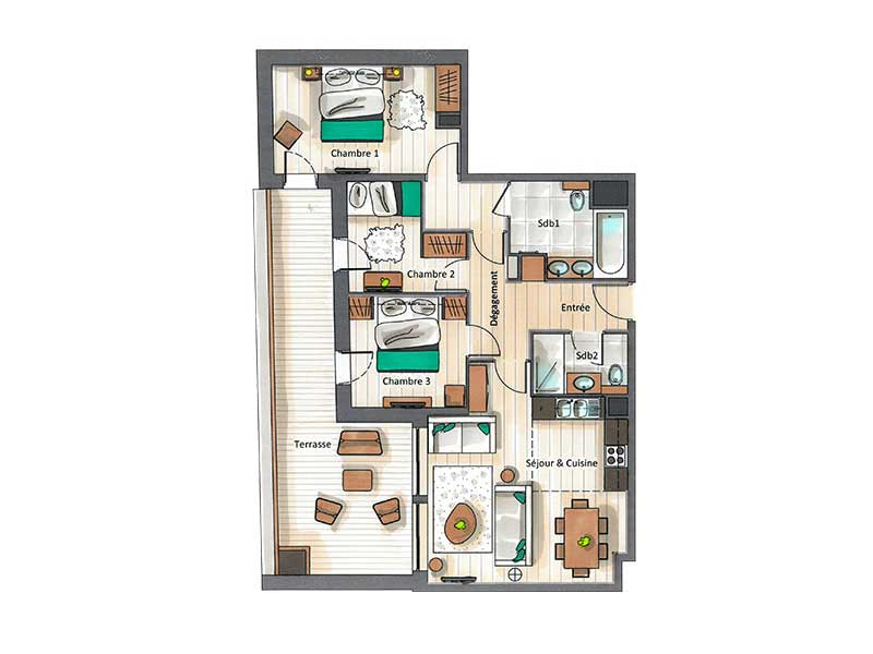 Three Bedroom Apartment for 6