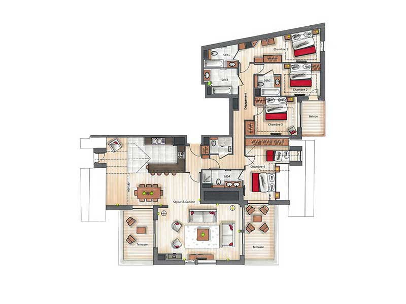 Four Bedroom Penthouse Apartment for 9 (C18)