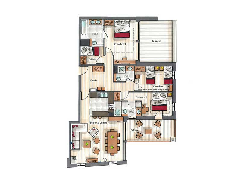 Three Bedroom + Cabin Apartment for 8
