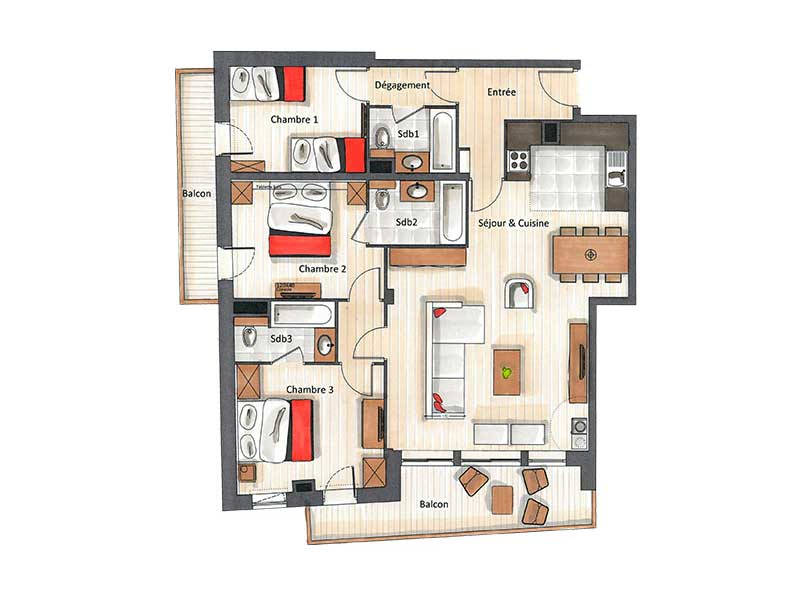 Three Bedroom Apartment for 8