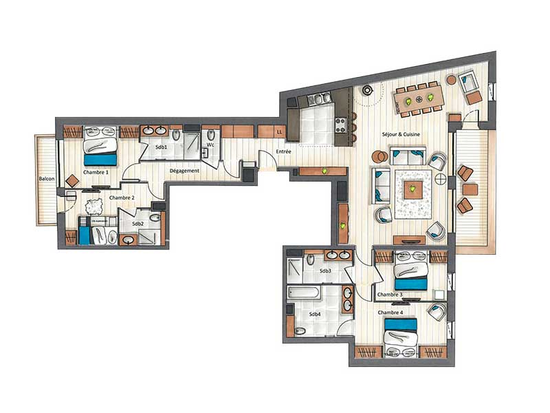 Four Bedroom Apartment for 9 (C17)
