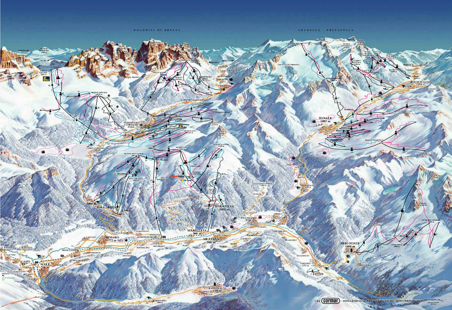 Val di Sole piste map