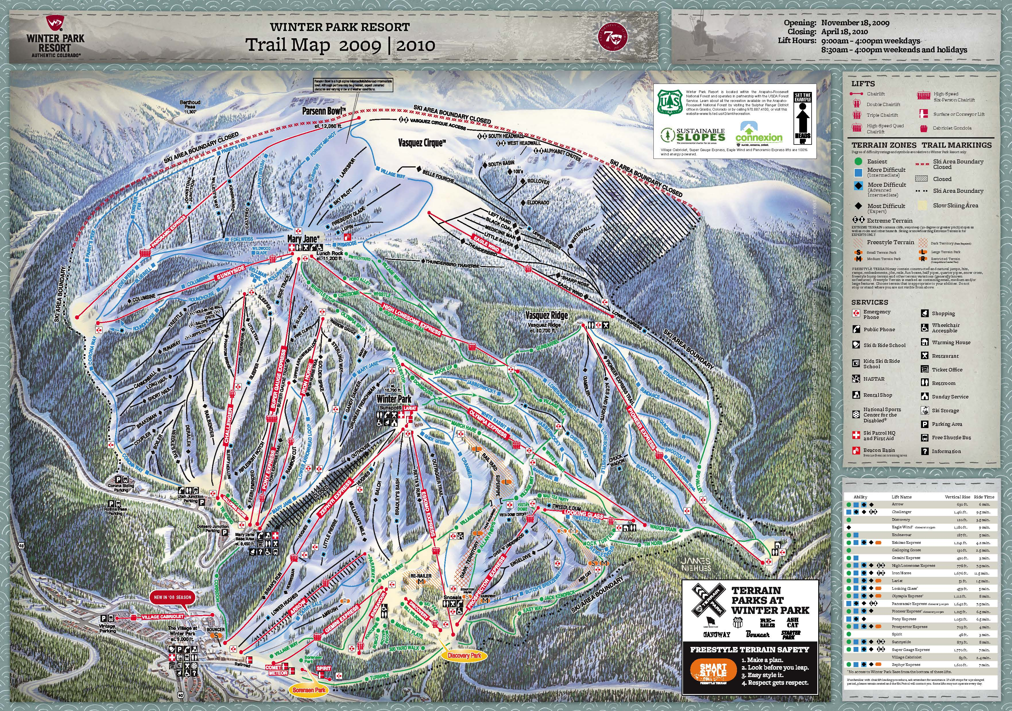 Winter Park piste map